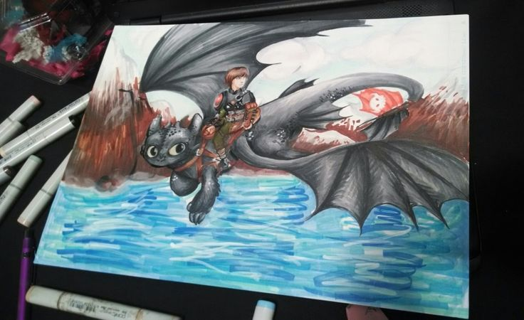 Finished photo of my How to Train Your Dragon print! I love these boys! It will be available in my print shop on my website soon, so stay tuned for that!  Total completion time: 6 hours.  Copic marker and white Sakura paint marker.