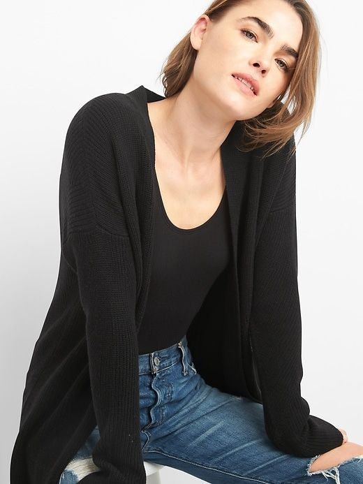 ALLAK Womens Open Front Long Sleeve Thin Knit Cardigan Sweater
