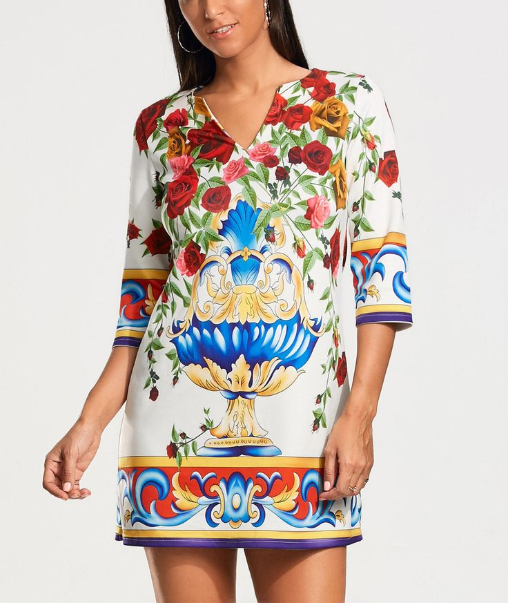 Three Quarter Sleeve Roses Print Tunic Dress