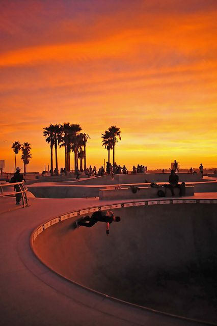 """Venice Beach Skate Park Sunset"" by travel tips travel guide travel photos
