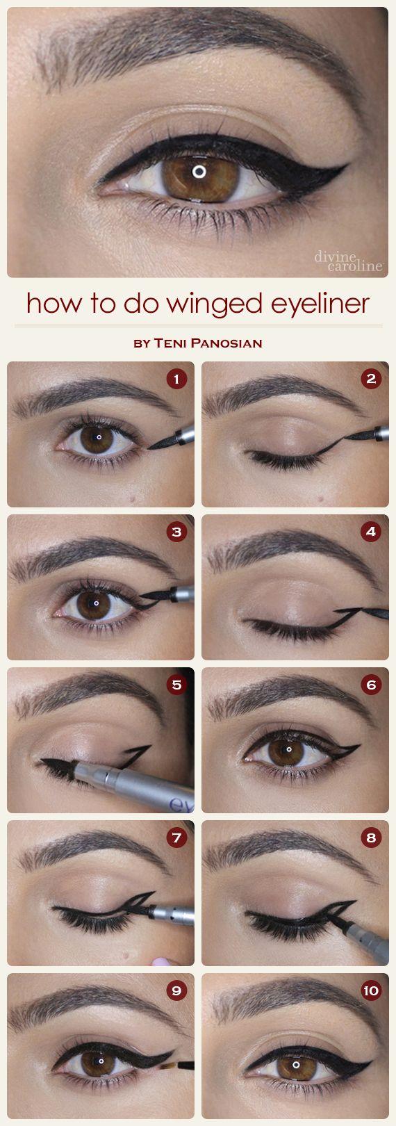 """Alarga y eleva la raya del ojo al estilo """"winged eyeliner"""" para un look refinado y clásico. #pasoapaso"""