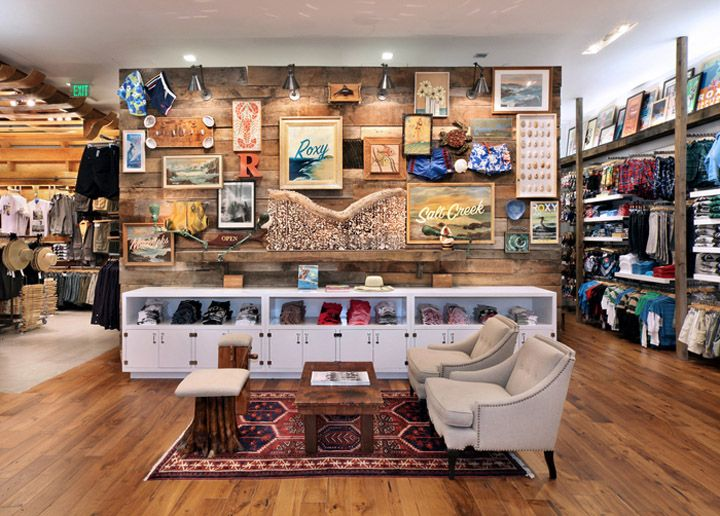 ~Cool display wall ~Instead of art we could have shelfs displaying bags and hats ~Love the low long drawers, would be nice for jewelry and wallet display