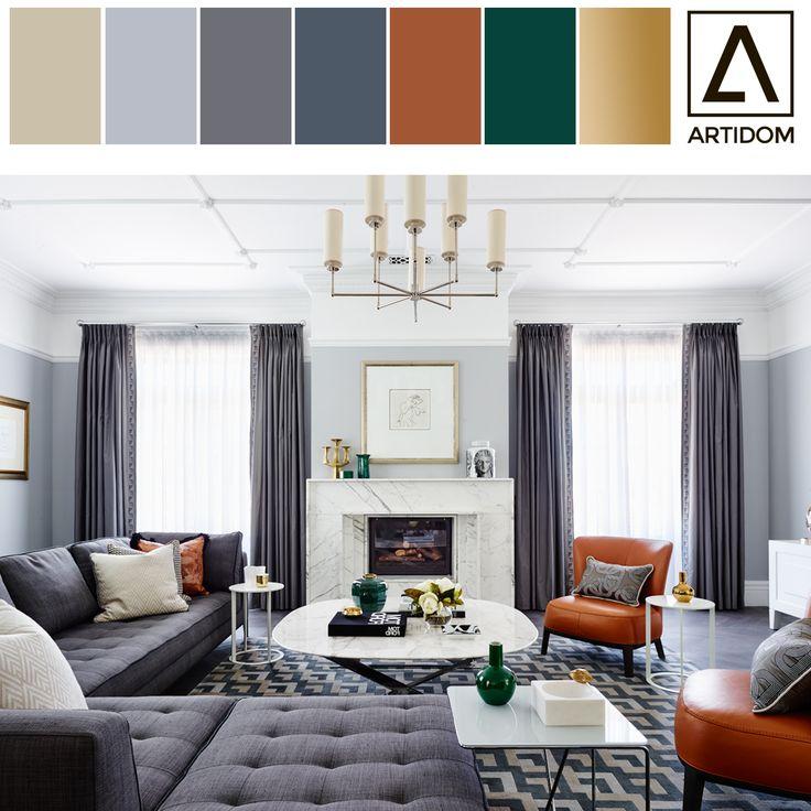 Classic interior color palette/ color seeds. Artidom color palette. Grey, orange, gold palette. Цветовая палитра, цветовая гамма интерьера. Серый, оранжевый и золотой в интерьере