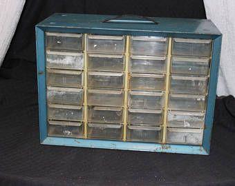 Akro Mills 24 Drawer Organizer / Blue Metal / Industrial / Parts Drawer / Tool Chest / Tool Box / Parts Bin