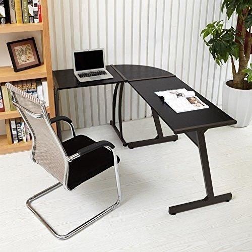 Black Corner Computer Desk Office Furniture Study Table Modern Laptop Home Large  | eBay