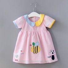 Summer New Baby Girl Dress Bee Duck Mushroom Animals Print Cotton Dress Children Clothing Sale Price:  US $60.75