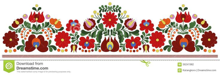 Hungarian Embroidery Border Pattern Stock Vector - Image: 56241982