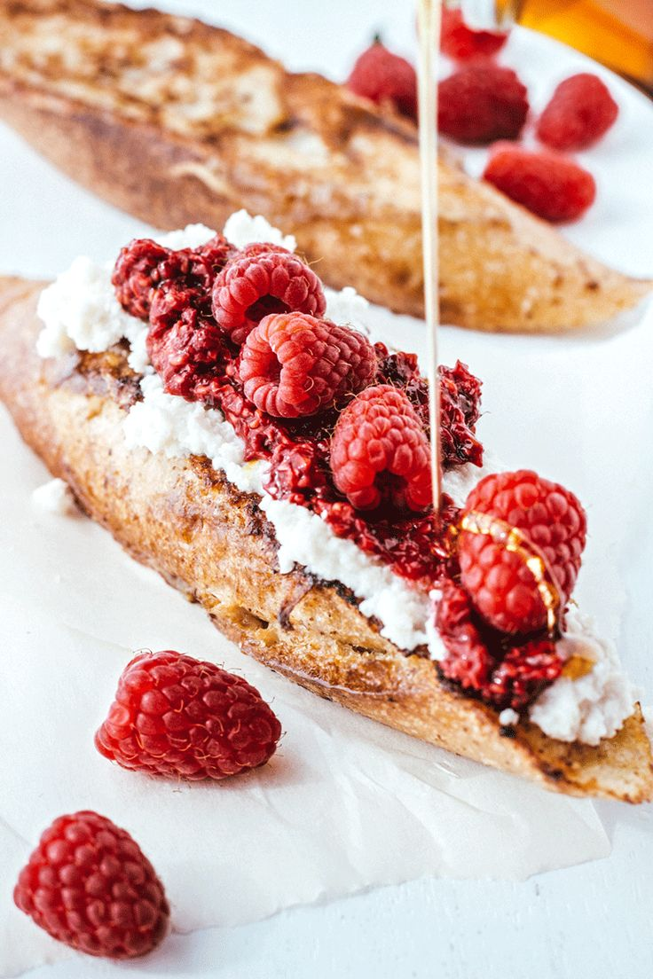 ***GIF***Rustic French Toast with Roasted Raspberries and Almond Ricotta (recipe) / by Artful Desperado