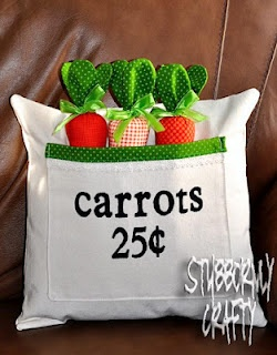 Easter Pillow Cover- Carrots 25 Cents  @stubbornlycrafty.blogspot.com