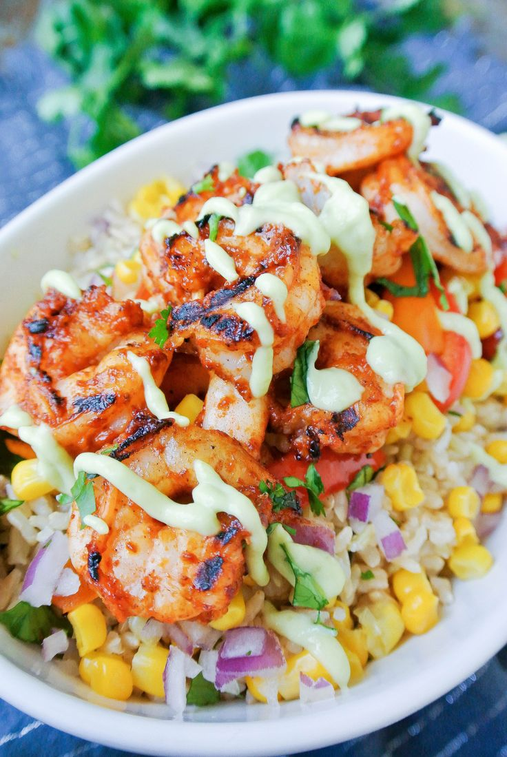 {chipotle shrimp burrito bowl} fresh ingredients atop cilantro-lime rice to compliment the smoky chipotle marinated shrimp!