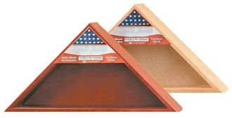 "The flag case is made for a standard 5' x 9 1/2' Military Flag.  The shadowbox dimensions are 27"" w x 13"" h, and holds one 5'x9.5' flag  Store everything in this flag case and Shadow Box and never worry about misplacing your treasures! Available in a mahogany finish."
