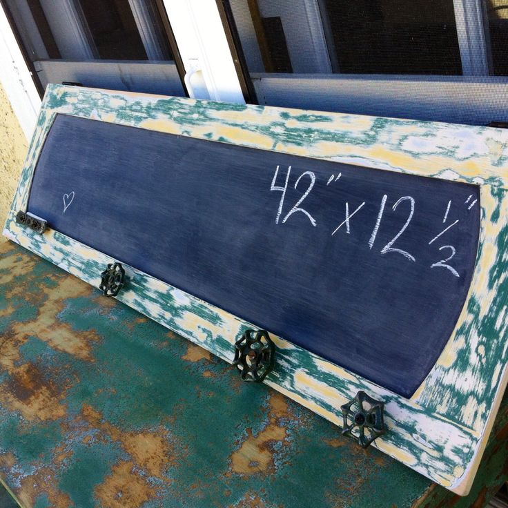 Large Chalkboard, green and yellow distressed paint on wood w/ gardenhose turns & chalkholder, barnyard farm restaurant menu sign blackboard by ReincarnatedwithLove on Etsy https://www.etsy.com/listing/196891531/large-chalkboard-green-and-yellow