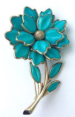Trifari Turquoise Floral Poured Glass Brooch - Large and Stunning