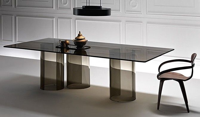 Fiam Luxor Glass Dining Table Desk Contemporary Dining Room