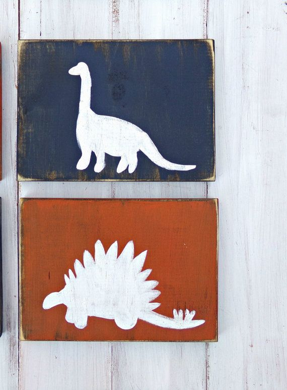 Dinosaur Rustic Wood Decor Set Rustic Nursery Decor Kids by RusticLuvDecor | Etsy