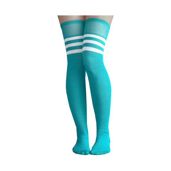 Teal/White Thigh Highs ($2) ❤ liked on Polyvore featuring intimates, hosiery, socks, white over the knee socks, white thigh high socks, thigh-high socks, above knee socks and white hosiery