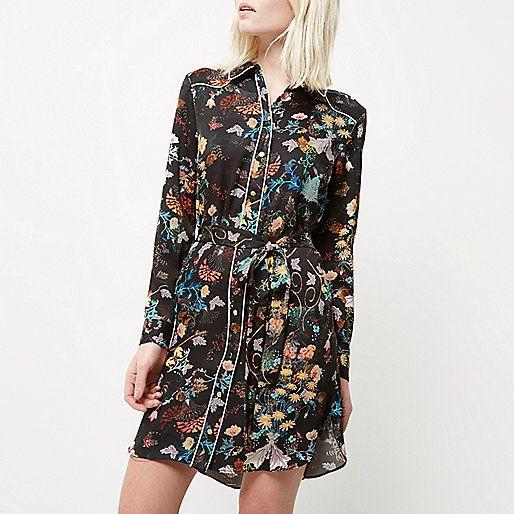 =Premie geweven crêpe Floral print met contrast leidingen Shirt-jurk met gebonden taille lange mouw knop-up voorkant bevestiging