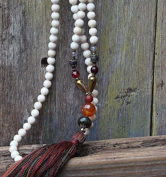 Beautiful river stone jasper gemstone mala by look4treasures