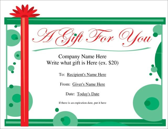 blank christmas gift certificate template
