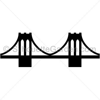 Brooklyn Bridge silhouette clip art. Download free versions of the image in EPS, JPG, PDF, PNG, and SVG formats at http://silhouettegarden.com/download/brooklyn-bridge-silhouette/