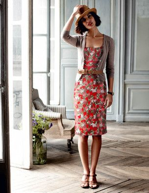 such a pretty, vibrant dress toned down with neutral cardigan, shoes and belt