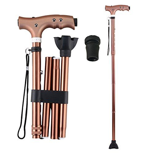 """Folding Walking Cane with LED Flashlight, Ranger5 Anodized Aluminum Collapsible Adjustable Walking Stick with 1 Replacement Cane Tip  ✔ WALKING FOLDING CANES FOR MEN AND WOMENcan be a great medical supportive device for travel or everyday use. They fold up easily and stores away neatly  ✔ HEIGHT ADJUSTABLE! 5 adjustable height from 32"""" to 37"""". The collapsible walking cane can also be made to reach the perfect height when changing from dress shoes to flat shoes. The folded size is 12*6..."""