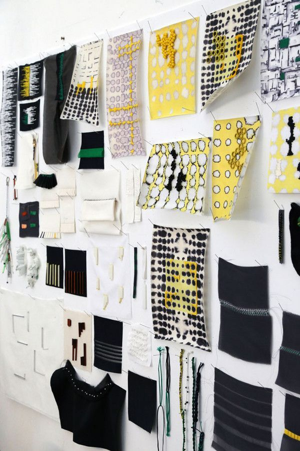 Fabric Mood Board in yellow and black. See more inspirations at http://www.brabbu.com/en/inspiration-and-ideas/ #MoodBoardIdeas #MoodBoardDesign #MoodBoardFashion