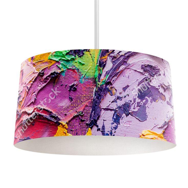 Lampenkap Verfklodders | Bestel lampenkappen voorzien van digitale print op hoogwaardige kunststof vandaag nog bij YouPri. Verkrijgbaar in verschillende maten en geschikt voor diverse ruimtes. Te bestellen met een eigen afbeelding of een print uit onze collectie. #lampenkap #lampenkappen #lamp #interieur #interieurdesign #woonruimte #slaapkamer #maken #pimpen #diy #modern #bekleden #design #foto #verf #geklieder #verven #kleuren #kunst #art #paars #groen #roze