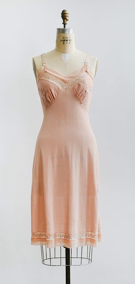 vintage 1940s pale pink embroidered slip from Adored Vintage