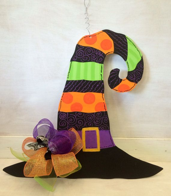 Hey, I found this really awesome Etsy listing at https://www.etsy.com/listing/206172787/halloween-witch-hat-door-decoration