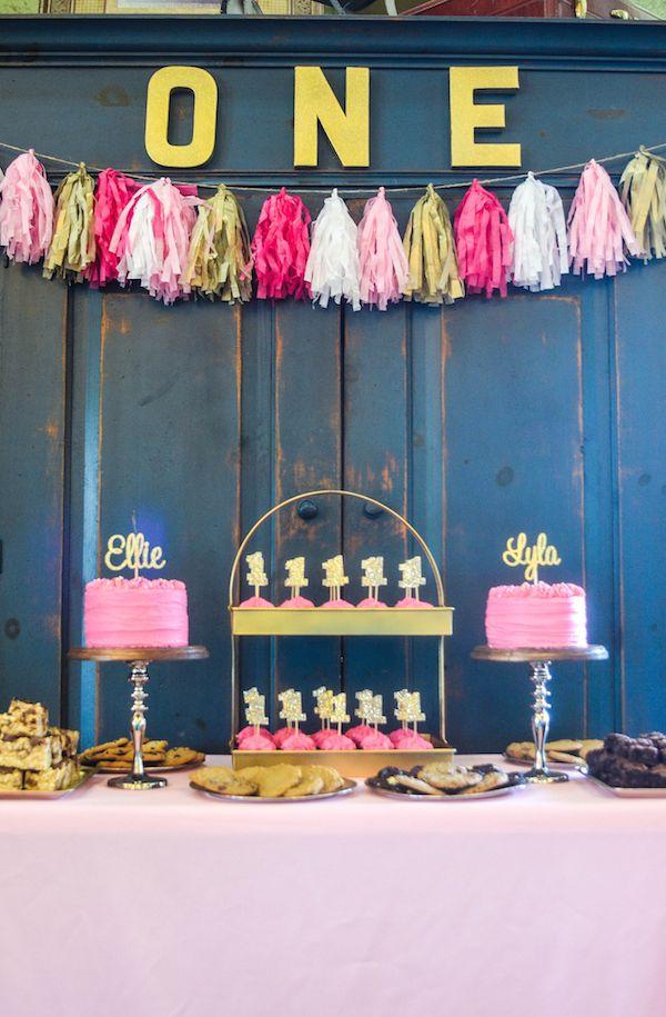 Pink & Gold First Birthday Party - Ellie & Lyla turn One! | thenovicechefblog.com