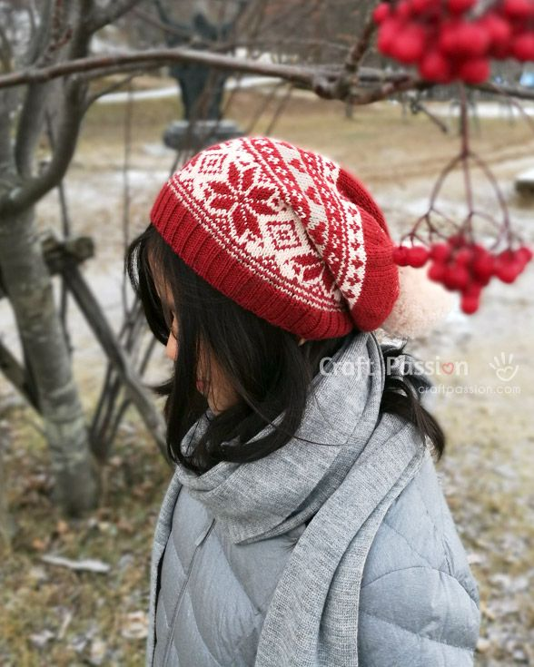 """Knit pretty fair isle beanie in poinsettia theme, slouchy with pom pom. Choose from 2 pattern variations: Hearts & Tic-Tac-Toe. 22"""" circumference beanie. – Page 2 of 2"""