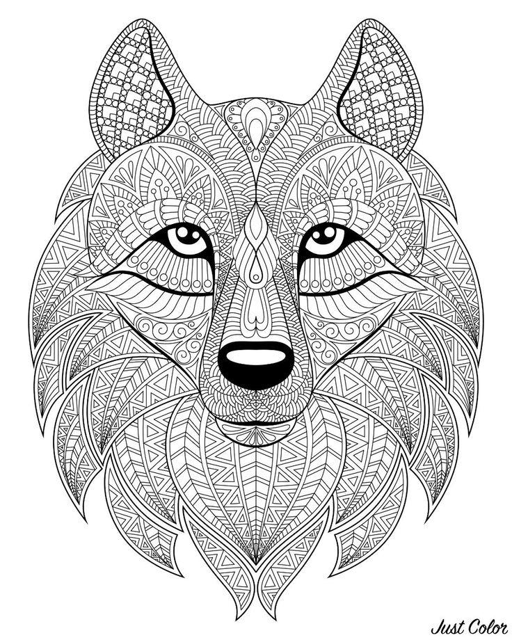wolf head with complex patterns  malvorlagen tiere