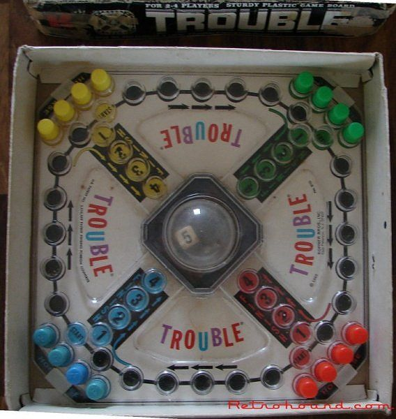 trouble.... I come from a game playing family. This one was always a favorite.