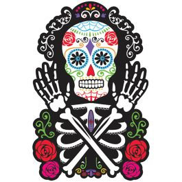 Bring a festive shot of color to your Dia de los Muertos celebration! This colorful Black and Bone Skeleton Cutout features a traditional sugar skull styled skeleton with dazzling swirls of bright col