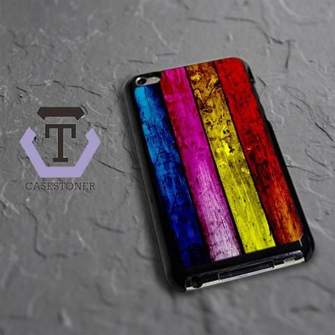 Wood Rainbow iPod 4 Black Case