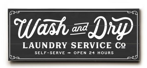 Laundry Co Wash Dry Sign Art Rustic Farmhouse Vintage Laundry Room Decor Sign available in wood or canvas.