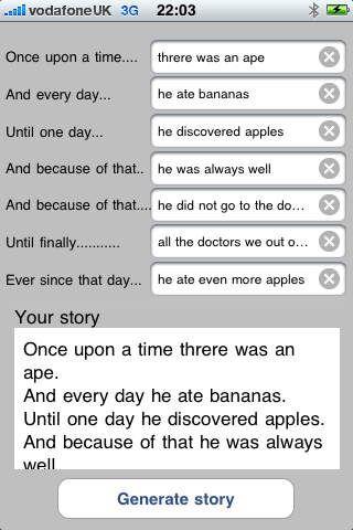 Story Spine er gratis og hjælper dig, hvis du har svært ved at skrive en historie. Den hjælper med skelettet til opbygningen af historien.