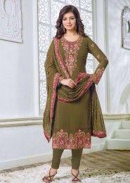 Party Wear Georgette Green Embroidery Border Work Salwar Kameez