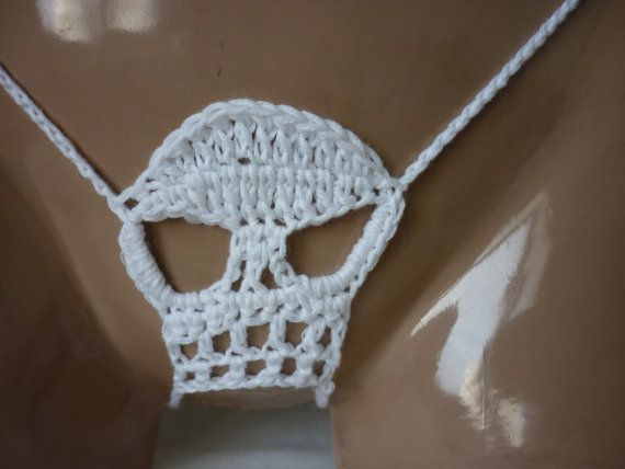 Skull Thong erotic lingerie skull crochet g-string by karsona11