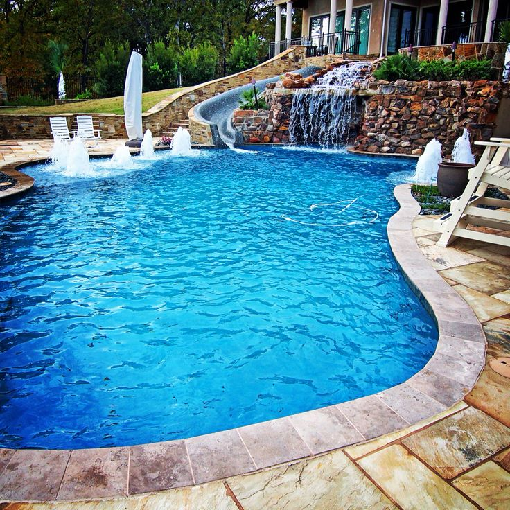 Amazing Playground For Your Backyard! Rock Climbing, Water Slides, And  Fountain Deck. Gunite PoolCustom ...