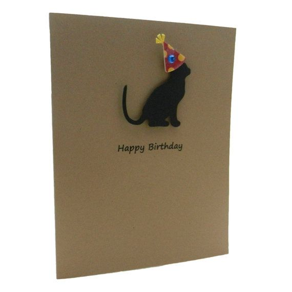 Birthday Card  Dog or Cat with Party Hat  by EmbellishbyJackie, $1.45