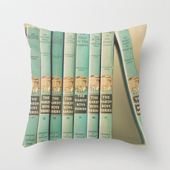 Throw Pillow Case : One of the Boys Vintage Hardy Boys Book Collection Antique Turquoise Aqua Robins Egg Retro Mid Century Boys Nursery on Etsy, $35.00