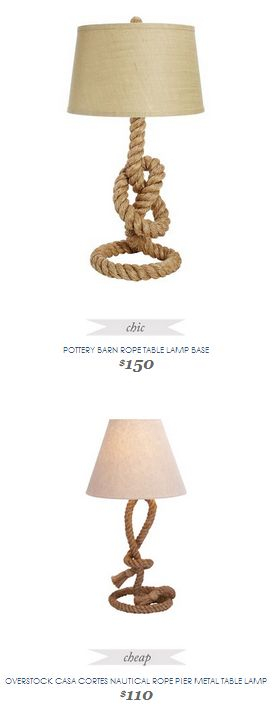 Copy Cat Chic Find | POTTERY BARN ROPE TABLE LAMP BASE vs OVERSTOCK CASA CORTES NAUTICAL ROPE PIER METAL TABLE LAMP