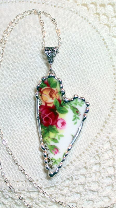 Broken China Jewelry Elongated Heart by Robinsnestcreation1, $48.95- could make this with old broken tea cups