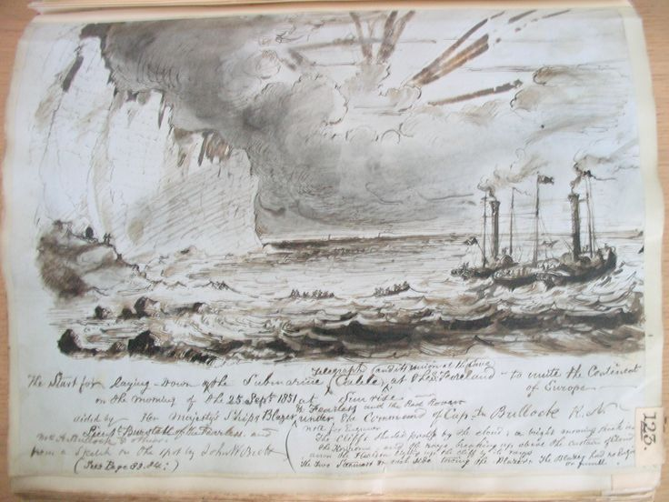 Page from Jacob Brett's volume on the Dover-Calais telegraph. This sketch shows the cable at Dover, 1858. IET Archives ref. SC MSS 008.