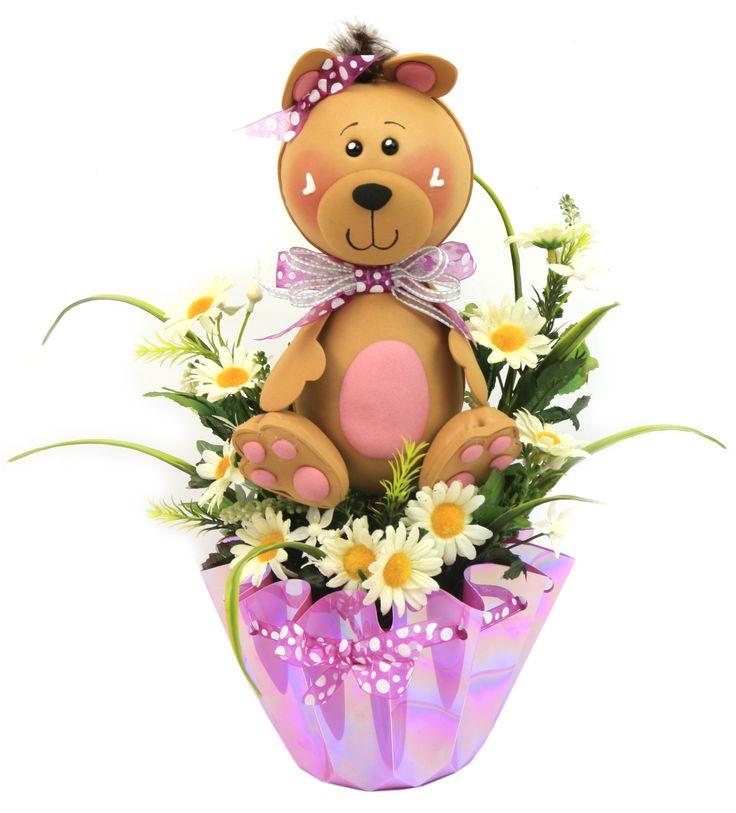 Centro De Mesa Para Baby Shower Maceta Color Rosa Con Osito Y Flores/plantas