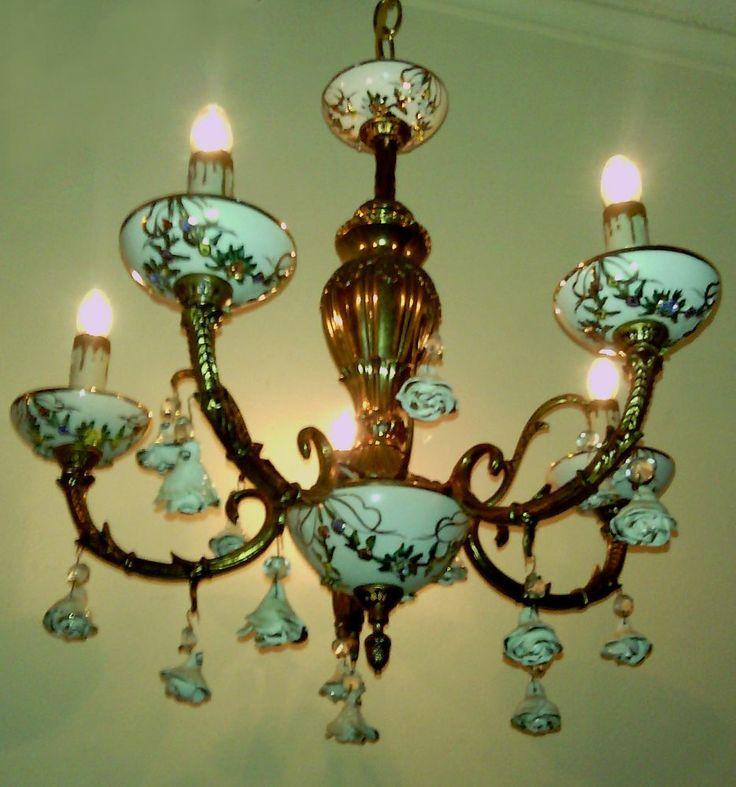 Agree, vintage chandolier hanging porcelain roses amusing moment