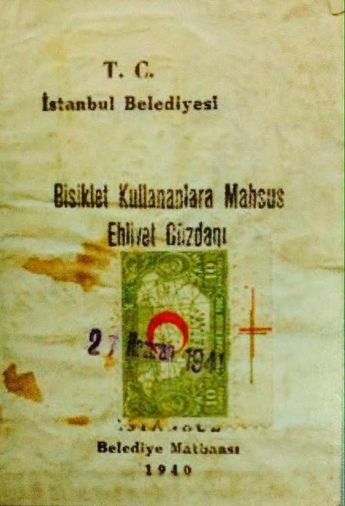 Bisiklet kullananlara verilen ehliyet cüzdanı (1940lar) #istanbul #istanlook