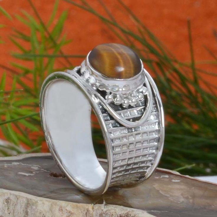 925 STERLING SILVER NEW DESIGNER Yellow Tiger Eye RING 5.12g DJR10920 SZ-8 #Handmade #Ring